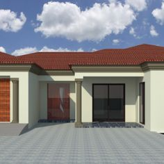 House Plans SA - Affordable and Reliable House Plans Round House Plans, My House Plans, Family House Plans, House Floor Plans, Built In Braai, House Plans South Africa, 5 Bedroom House Plans, Flat Roof House, Modern Front Door