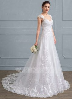[US$ 285.39] A-Line/Princess Scoop Neck Court Train Tulle Lace Wedding Dress