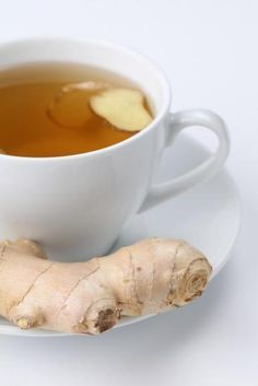 Ginger Tea: Boil 4 cups water in a saucepan, then add a 2-inch piece of fresh sliced ginger root. Cover and reduce to a simmer for 15-20 minutes. Strain the tea. Add honey and lemon to taste.