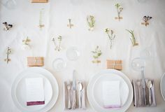 cute tables setting ideas, little plants and flowers taped to the table cloth :) Sunday Suppers: Remodelista
