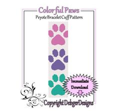 Colorful+Paws+++Beaded+Peyote+Bracelet+Cuff+by+FUNPATTERNDESIGNS