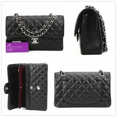 """CHANEL 9""""medium flap balck caviar with silver hardware like new conditions ref.code-(KCUL-1)"""
