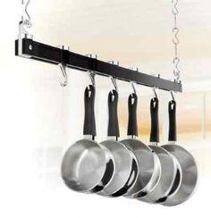 Finally, a hangnign pot/pan rack that still looks organized!  JUDGE BLACK SAUCEPAN PAN RACK POT CEILING HANGING KITCHEN STORAGE HOLDER 90CM  £46.99