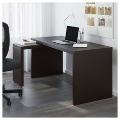 IKEA - MALM Desk with pull-out panel black-brown