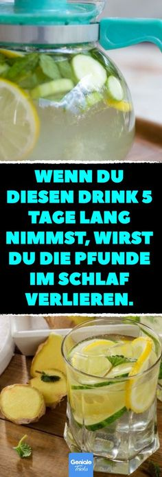 Wenn du diesen Drink 5 Tage lang nimmst, wirst du die Pfunde im Schlaf verlieren… - 健康的な生活 Weight Loss Detox, Weight Loss Drinks, Lose Weight, Water Weight, Weigt Watchers, Jugo Natural, Digestive Detox, Menu Dieta, Full Body Detox