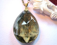 Vintage Crystal Photo Necklace - Silent Snowfall - Chandelier Prism Pendant, by Jennifer Fields