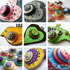 Ideas para hacer broches de fieltro con formas corazón y flores con botones