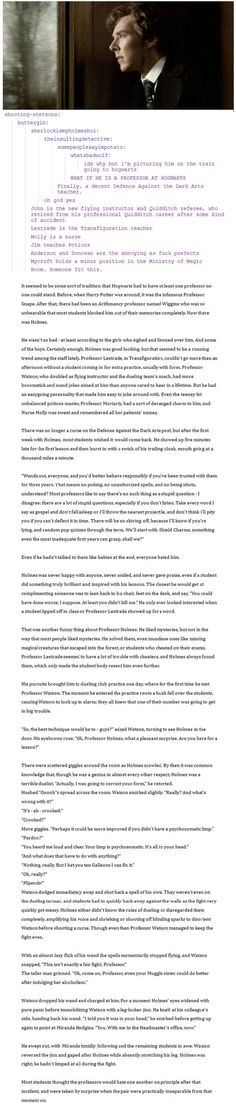 Yes, I know this is long. But its an awesome fanfic of the Sherlock characters as professors at Hogwarts!
