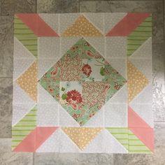 Block 2 isn't it so girly #delightquilt #scrumptiousfabric #thegoodlifefabric #apieceofcakebook @shequiltsalot