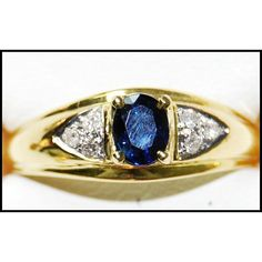 http://rubies.work/0160-ruby-rings/ Solitaire Oval Blue Sapphire 18K Yellow Gold Diamond by BKGjewels