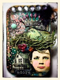 Altered Altoid (mint candy) tin Created for Retro Cafe ART Gallery DT  -washi tape black/white with heart -washi tape vintage -2 inch square collage sheet DP272 -Roses and Crown collage sheet DP68 -tiny  metal roses -large foil wings