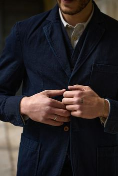 Suit Jacket made from a Japanese twill fabric (washed for a soft hand feel) featuring three front pockets, Corozo buttons, unlined. Cold Day, Suit Jacket, Navy, Fabric, Jackets, Hale Navy, Tejido, Down Jackets, Tela
