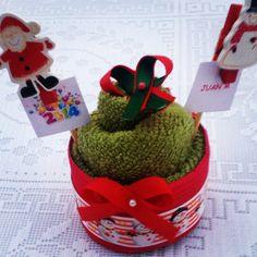 CupCakeToalla Navidad con Identificación de Nombres