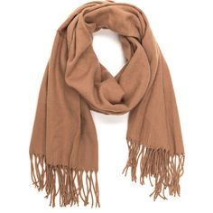 Executive Chic Fringed Scarf ($15) ❤ liked on Polyvore featuring accessories, scarves, tan, fringe scarves, oblong scarves, fringe shawl, long scarves and long shawl