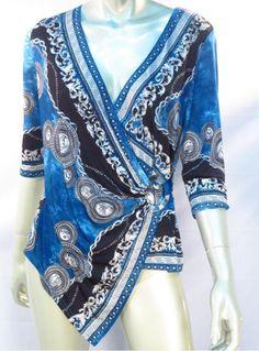 Joseph Ribkoff Teal Blue V-Neck Baroque Print Wrap Top - Size 10 * #JosephRibkoff #Wrap