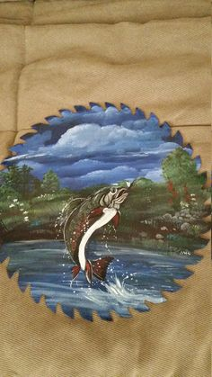 Hand Painted Trout On A Real Metal Saw Blade
