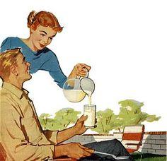 Serving milk, ca. 1950s