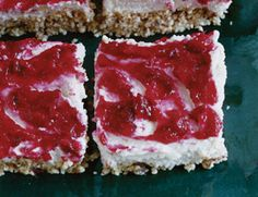Almost-Raw Honey Cheesecake Bars with Cranberry Topping