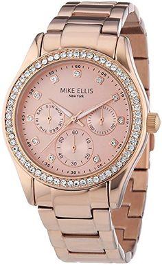 Mike Ellis New York Damen-Armbanduhr Analog Quarz Edelstahl SL4-60213B - http://uhr.haus/mike-ellis-new-york/mike-ellis-new-york-damen-armbanduhr-analog-quarz