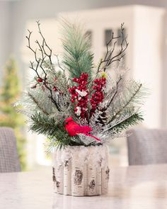 Buy Winter Woods Artificial Holiday Accent at Petals Rose Gold Christmas Decorations, Christmas Vases, Christmas Flower Arrangements, Xmas Decorations, Christmas Wreaths, Christmas Crafts, Holiday Decor, Flower Shop Decor, Advent