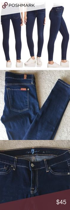 "7 FOR ALL MANKIND THE SKINNY DENIM BLUE JEANS  28 7 FOR ALL MANKIND THE SKINNY DENIM BLUE JEANS  SZ 28 - 7.5"" RISE 31"" INSEAM 30"" WAIST - 98% COTTON 2% SPANDEX 7 For All Mankind Jeans Skinny"