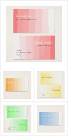 Plain Elegant Simple Pink Watercolor Pastel Business Cards