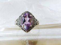ANTIQUE Style Forget me Not Floral Filigree Amethyst Sterling Silver Ring Sz 10 #CNA #Solitaire