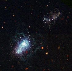 """This may be the youngest galaxy ever seen; this """"late bloomer"""" may not have begun active star formation until about 13 billion years after the Big Bang. Called I Zwicky 18, it may be as young as 500 million years old. It has gone through several sudden bursts of star formation — the first only some 500 million years ago and the latest only 4 million years ago. The galaxy is classified as a dwarf irregular galaxy and is much smaller than our Milky Way."""