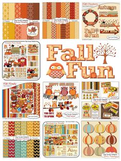 #Fall #Autumn DIgital Scrapbook Kits #clipart #Pumpkins #Turkey #Teacher art digital papers backgrounds http://tinyurl.com/fallkitsits