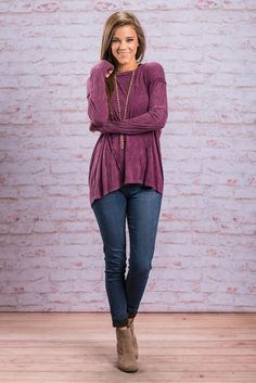 """""""Without A Care Top, Plum"""" You won't have a care in the world when you're rocking this stonewashed top! It's fabric is so soft and the cut is beautifully loose!  #Newarrivals #shopthemint"""