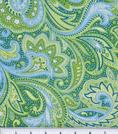 Keepsake Calico Fabric-Paisley GreenKeepsake Calico Fabric-Paisley Green,