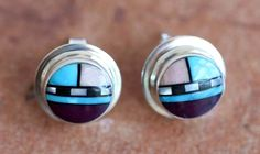 Zuni Sterling Silver Multi-Stone Earrings - NativeIndianMade.com