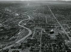 1974 Denver = lokking south , the old Valley highway, and Broncos stadium (mile-high), big mac under construction. Living In Colorado, Boulder Colorado, Broncos Stadium, Photo Maps, Mountain High, Old West, Rocky Mountains, Beautiful Landscapes, Old Photos