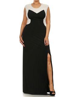 Plus Size Radiant Mesh Back Maxi Dress