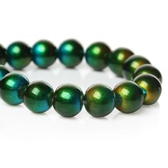 20 Green Mixed Color Glass Round Beads 10mm