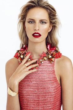 that bracelet/ring--> plus the makeup & dress are flawless. KAROLINA KURKOVA STARS IN ELLE CZECH BY BRANISLAV SIMONCIK