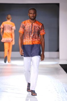 Kola Kuddus lagos fashion and design week African Attire For Men, African Clothing For Men, African Shirts, African Wear, African Dress, African Style, Nigerian Outfits, Nigerian Men, Afro