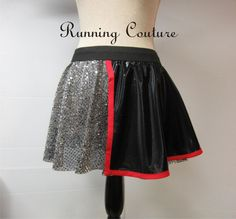 Captain Phasma Star wars inspired silver sparkle Running Misses circle skirt covered with black shimmery cape