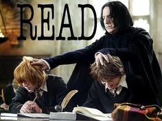 Severus Snape, Ron Weasley and Harry Potter Harry Potter Classroom, Theme Harry Potter, Harry Potter Love, Library Memes, Library Posters, Reading Posters, I Love Books, Books To Read, Rowling Harry Potter