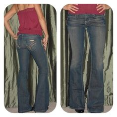 """WILLIAM RAST WINONA Flair Medium Wash Purchased those at Nordstrom when  they were available. Fits perfectly, just lower in the rise. 98% cotton, 2% Spandex. True to size. """"Size 27 Inseam: 35"""" (SUPER LONG),Waist (laying flat side to side with dip): 15.25"""" Front Rise: 7.5"""". Like new!!! William Rast Jeans"""