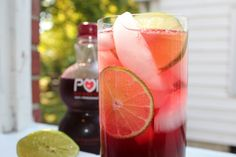 Lime Pomegranate Soda by recipesremembered #Soda #Lime #Pomegranate #recipesremembered