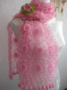 Beautiful  Romantic Angora Rectangle Shawl by Iovelycrochet