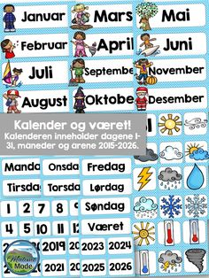 Packs with labels and desk strips for Norwegian learners. Included in this pack of designs: → Name tags → Math strips → Alphabet strips → Subjects → Items labels → Calendar → Weather Sixth Grade, Second Grade, Fourth Grade, Teaching Time, Teaching Resources, Elementary Teacher, Primary School, Birthday Calendar Classroom, Name Tags