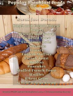 Infograph showing popular ideas for breakfast foods. This is not an all-inclusive list but gives a pretty thorough idea of many of the possibilities. Laid out for quick reference to what you need to know...