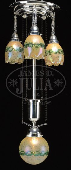 Decorative Arts Antiques A French Wrought Iron Chandelier With Colorful Art Glass Bowl 3 Matching Tulipes Bright Luster