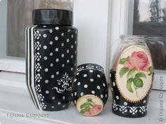 Декор предметов Декупаж Чайный домик и новые баночки Бутылки стеклянные Дерево Салфетки Шпагат фото 2