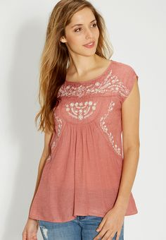 embroidered top with cap sleeves