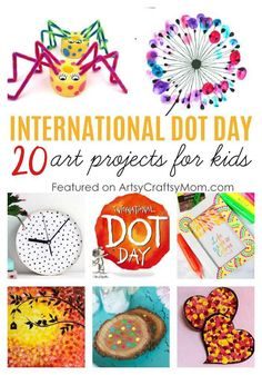 20 International Dot Day Art Projects for Kids, Inspired by Peter H. Reynolds st… 20 International Dot Day Art Projects for Kids, Inspired by Peter H. Reynolds storybook – The Dot. From artwork to gifts, Get Inspired, Making a Mark! Kindergarten Art Projects, Classroom Art Projects, Easy Art Projects, Art Classroom, In Kindergarten, Projects For Kids, Crafts For Kids, Arts And Crafts, Fall Projects