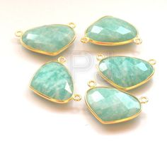 Easter Sale 5 Pcs Amazonite 24 k Gold Plated Handmade Connector, 15 x 20 mm Heart / Faceted Connector / Stone Connector (PJ4348PJ) by PlantofJewel on Etsy
