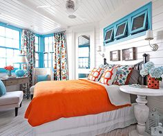 Even in small doses, orange and blue have a captive effect on the eye because they are complementary colors. In this bedroom, white walls, floors,… Bedroom Lighting, Bedroom Decor, Bedroom Ideas, Bright Rooms, Colorful Rooms, Bright Bedroom Colors, Happy Room, Color Style, Coastal Bedrooms